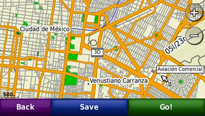 screenshot from GPS showing map of Mexico