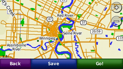 screenshot from GPS showing map of Canada