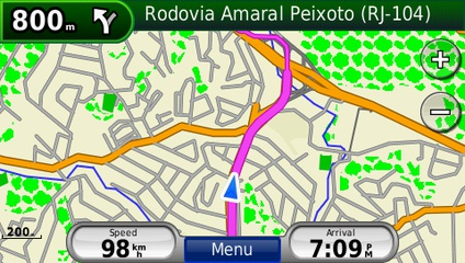 screenshot from GPS showing map of South America