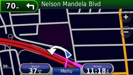 screenshot from GPS showing map of Southern Africa