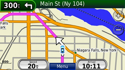 screenshot from GPS showing map of United States