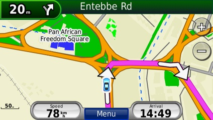 screenshot from GPS showing map of Eastern Africa