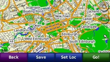 screenshot from GPS showing map of United Kingdom and Ireland